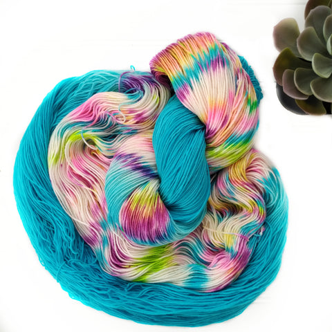 Bright Blue Rainbow Dapples- Squishy Sock
