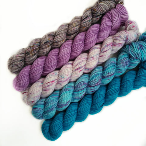 Mini Skein Set of 5 OOAK - plum blossom blues