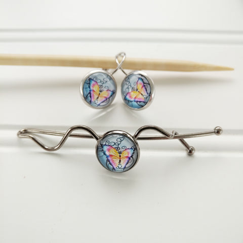Shawl Pin & Stitch Marker / Earring Set