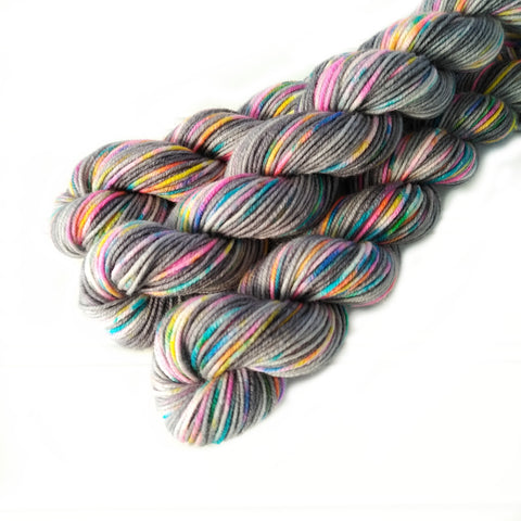 Single Mini Skein  - Cloudy With Glitter