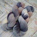 Hand dyed yarn sock weight, hand painted yarn, tan, gray, cream