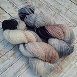 hand dyed Dk yarn, hand painted yarn, tan gray cream