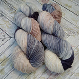 hand dyed yarn worsted weight, hand painted yarn,tan gray cream