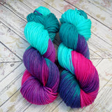 hand dyed yarn worsted, hand painted yarn