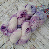 Hand dyed yarn, sock weight, purple speckles