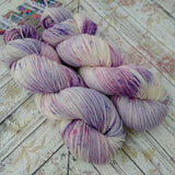 Hand dyed yarn Dk weight, purple speckels