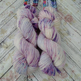 Hand dyed yarn worsted weight, purple speckled yarn