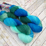 hand dyed yarn Dk, water greens and blues