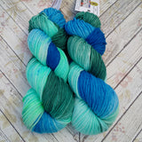 hand dyed yarn worsted weight,  water greens and blues