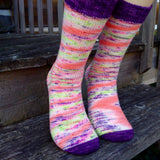 Hand dyed yarn Electric Popsicle made into a fantastic pair of socks with contrasting toe and cuff