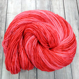 log house cottage yarns, hand dyed yarn semi-solid, berry red and pinks, sock yarn, dk, worsted,