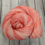 Canadian hand dyed yarn, semi-solid yarn, blush / peach / Pink