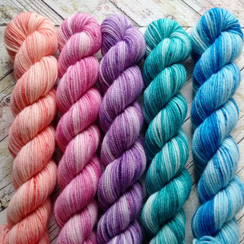 Water Color Roses  Mini Skein Set of 5