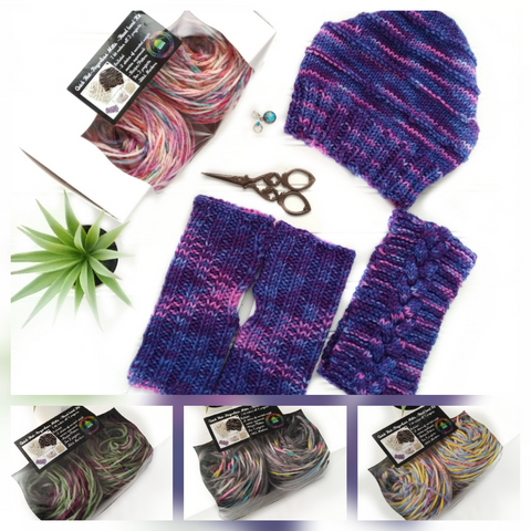 Knitting Kit - Quick Hat - Fingerless Mitts and Headband all in one
