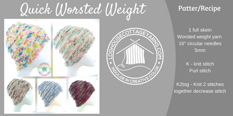 Quick Worsted Weight Hat knitting pattern