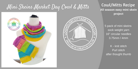 Mini Skeins Market Day Cowl & Mitts knitting recipe/pattern