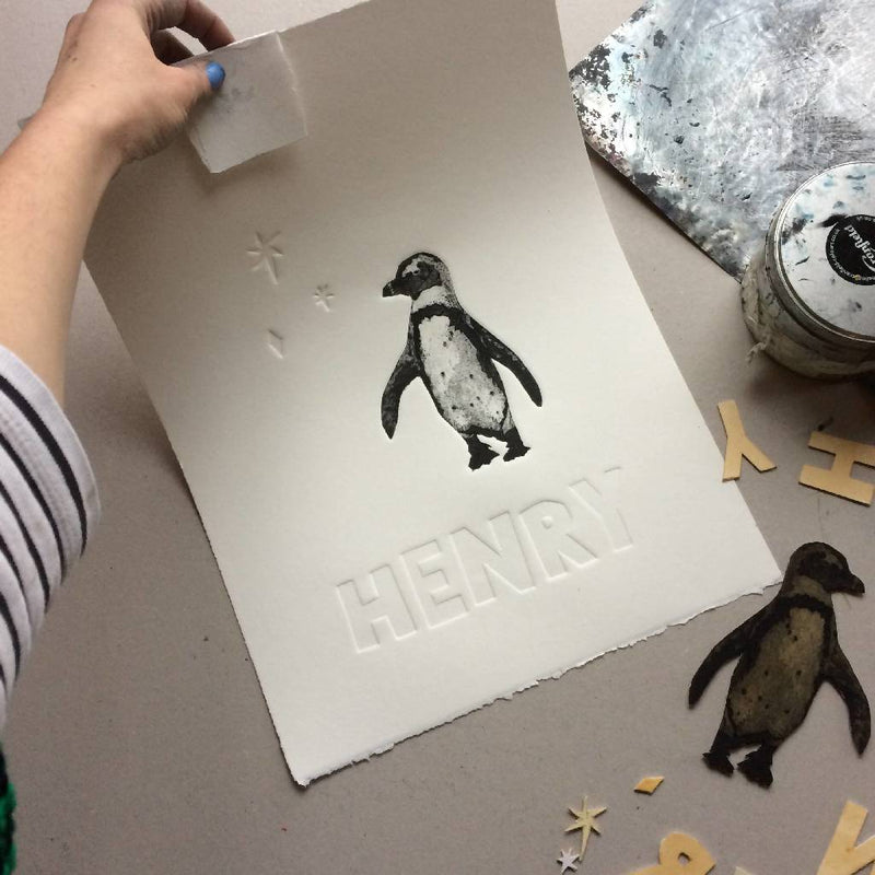 Penguin Original Collagraph – can be personalised