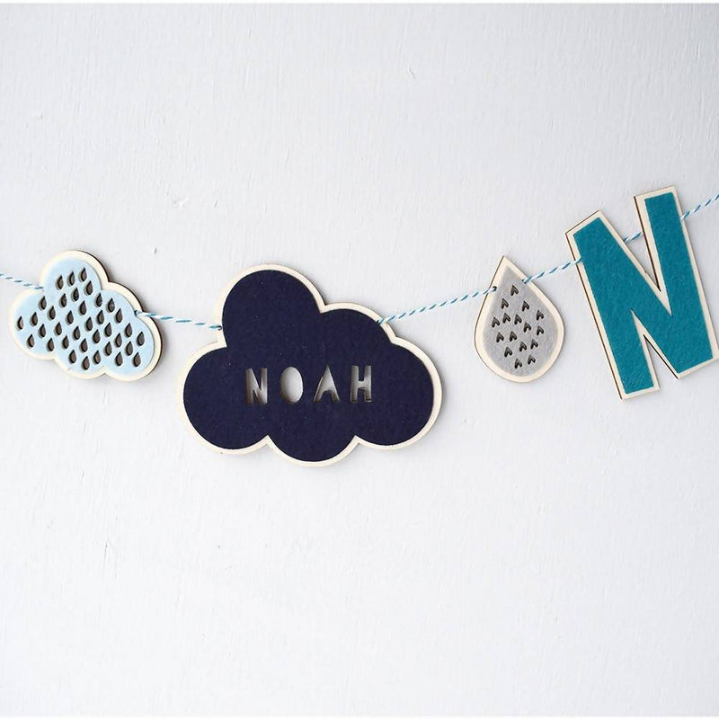Personalised cloud garland – choice of colours