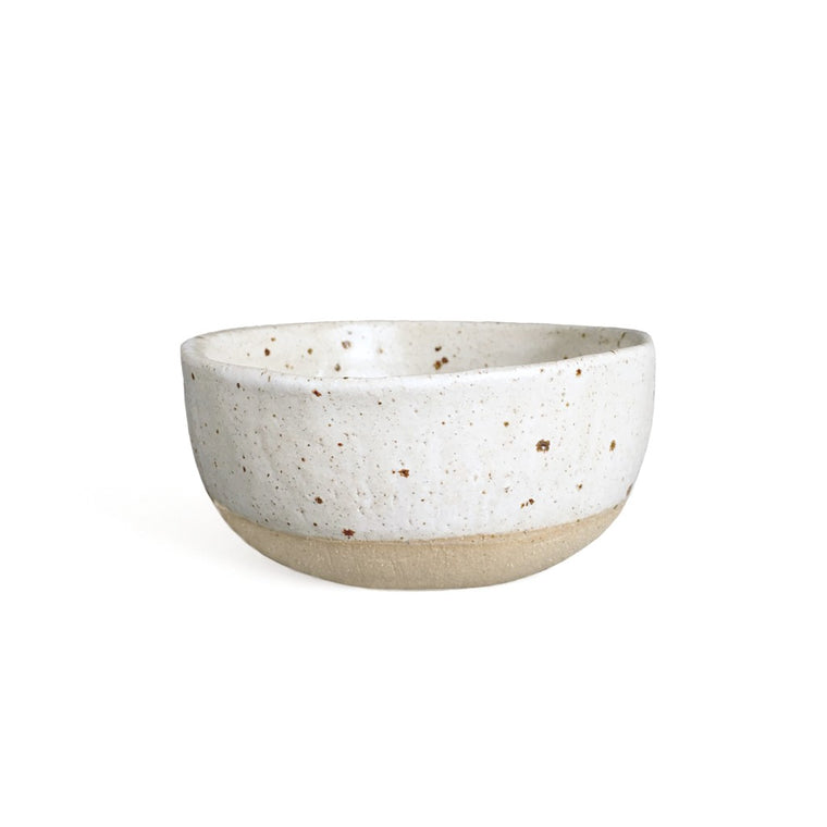Rice bowl in toasty speckle + matte white