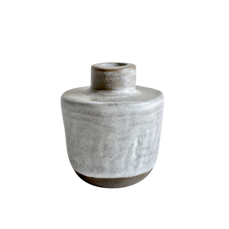 Ink pot bud vase in warm grey + misty white