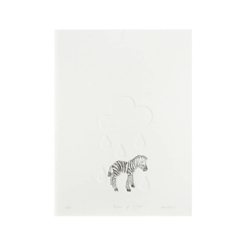 Zebra Original Collagraph – can be personalised