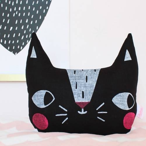 Screen printed cat cushion – choice of colours