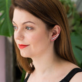 Eco Sterling Silver Bar Ear Climbers