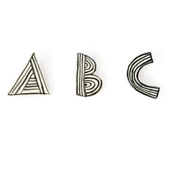 Ceramic Alphabet Brooch - Choose a letter