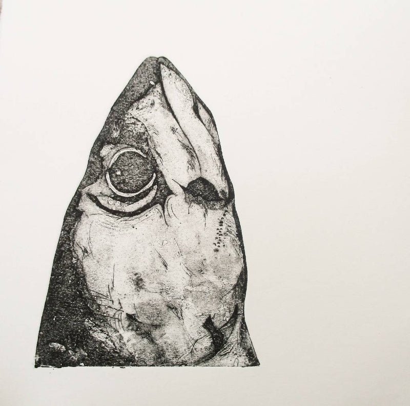 Mackerel Head. Limited Edition Collagraph