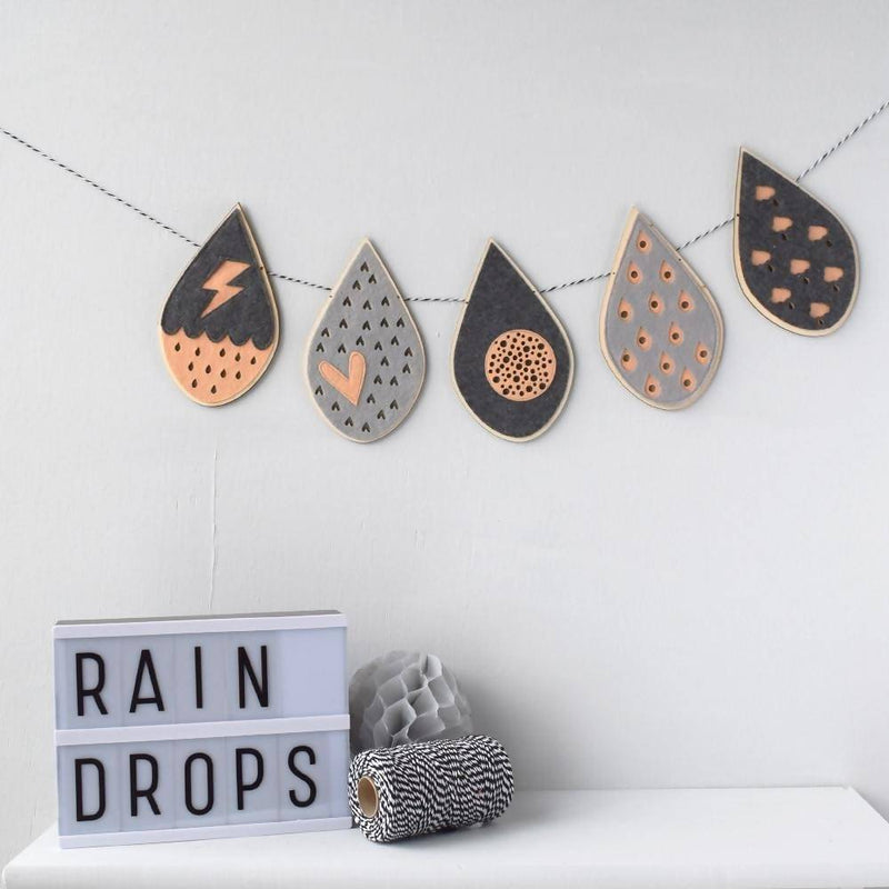 Felt and Ply Raindrop Garland – choice of colours