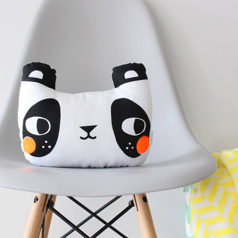 Screen printed panda cushion