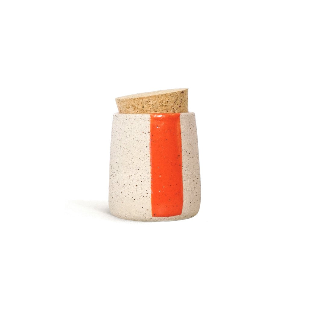 "Orange stripe ""treasures and spices"" corked pot"