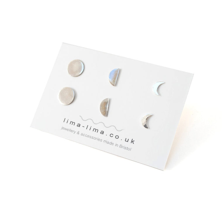 Eco Sterling Silver Moon Phase Studs