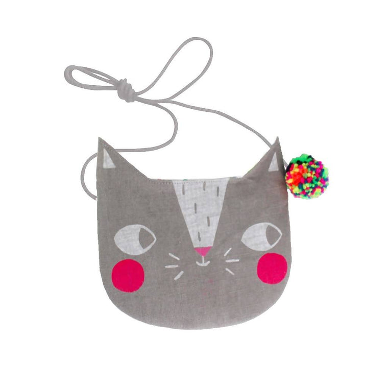Screen printed cat bag – choice of colours