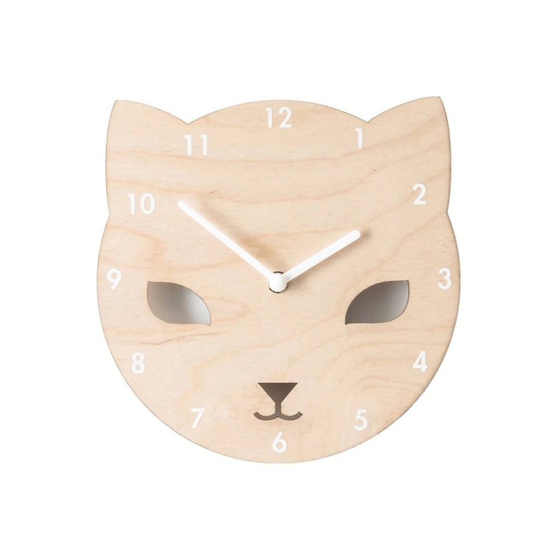 Wooden Cat Clock for Children