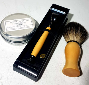 Handmade Tasmanian rare timber shave set