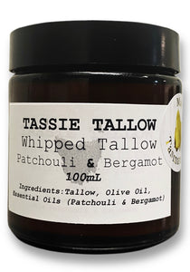 Whipped Tallow Face & Body Balm | Patchouli & Bergamot | 100mL