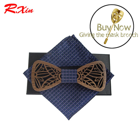 2017 Hot Hollow Fashion Wood Bow ties with solid blue lattice pocket square For Mens Wooden bow tie gravata bowtie