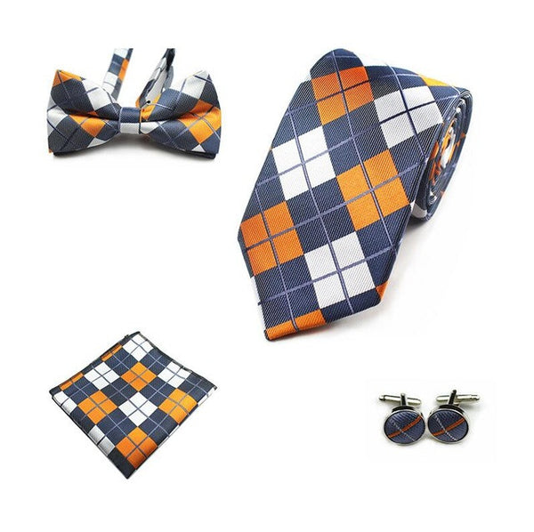 JEMYGINS 4PCS Tie Set Men Bow Tie and Handkerchief Bowtie Cufflinks 8cm Necktie 100% Silk Ties For Business Wedding Party Hombre