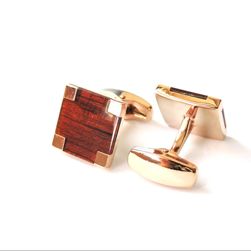 2017 new red square wood quality rose gold Cufflinks high-end apparel accessories French men Cufflinks