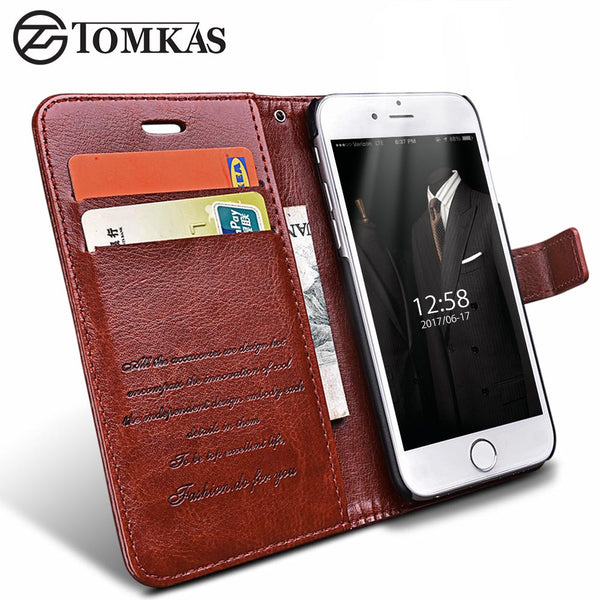 Wallet Leather Case For iPhone 6 6S / 6 6S Plus Luxury Coque Cover for iPhone 6 S Plus Phone Cases With Card Slot TOMKAS Brand