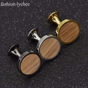 fashion lychee 3 Colors Round Wood Cufflinks Copper Cuff link for Men Shirt Fashion Brand Jewelry Men Gifts