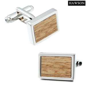 Hawson Brown Wooden Cuff links For mens Button Fashion Suit Shirt Cufflinks