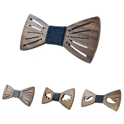 Classic Hollow Mustache Wing Wood Bow Ties Adjustable Butterfly Wedding Party Suit Wooden Bow Tie Cravat Handmade Bowknot Ties