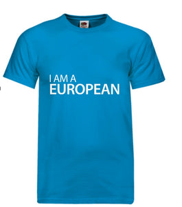 """I Am A European"" T-Shirt in Blue"