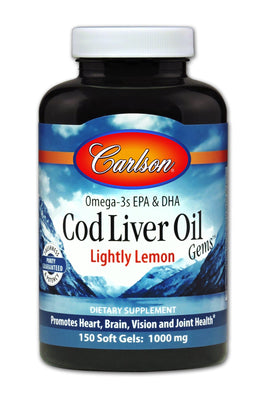 Cod Liver Oil Lightly Lemon 1000 mg - 150 Softgels