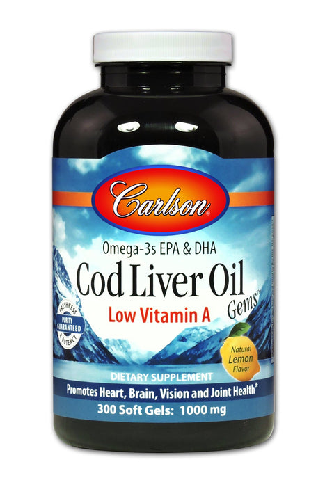 Cod Liver Oil Low Vitamin A 1000 mg - 300 Softgels