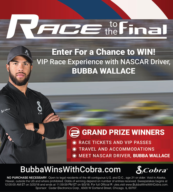 Cobra Electronics Announces 'Race to the Final' Sweepstakes with NASCAR Driver Bubba Wallace