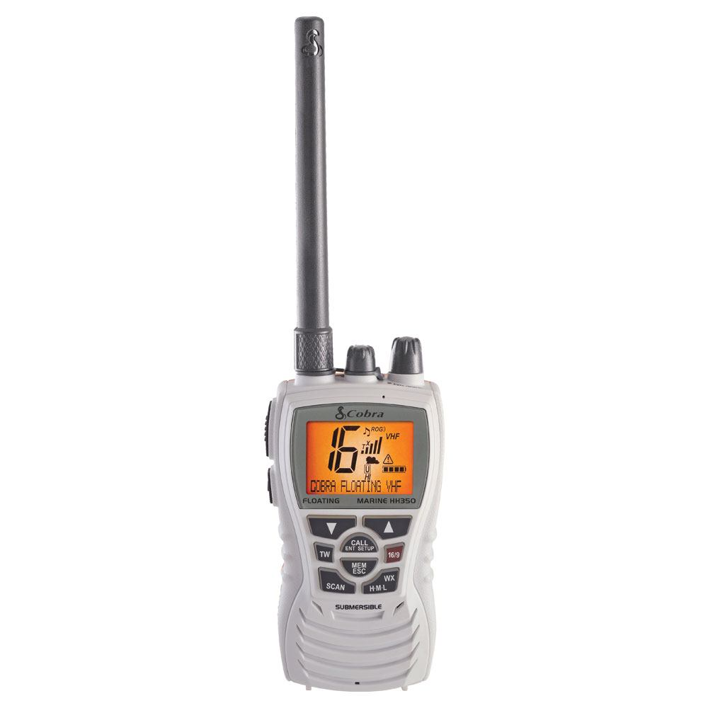 Cobra MR HH350W FLT - 6 Watt Floating VHF Radio, White