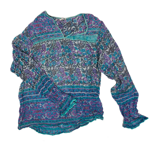 Mint and Purple Indian Hippie Top
